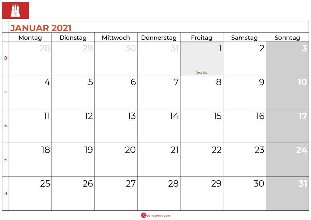 2021 januar kalender hamburg