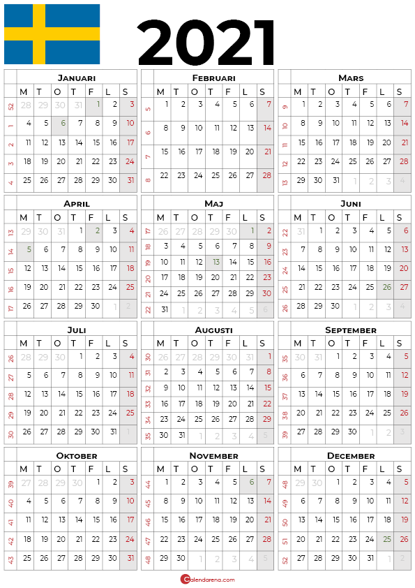 Årskalendrar 2021 med helgdagar sv