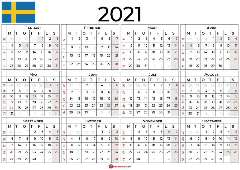 Årskalendrar 2021 med helgdagar sv2