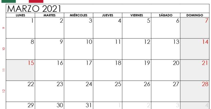 Calendario Marzo 2021 Mexico