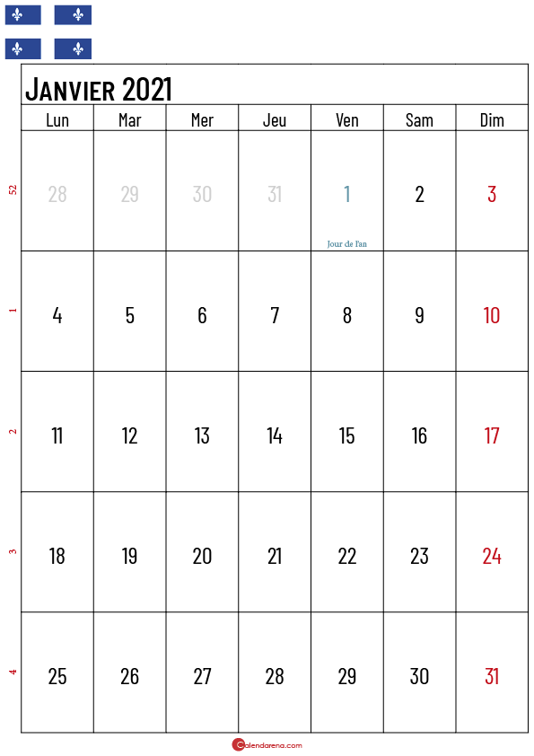 Calendrier Janvier 2021 Québec_2