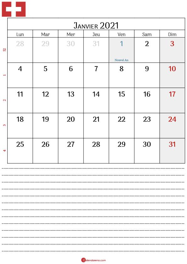 Calendrier Janvier 2021 suisse4
