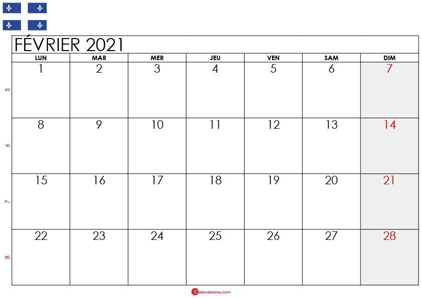 Calendrier fevrier 2021 Québec_2