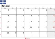 Calendrier mars 2021 Québec