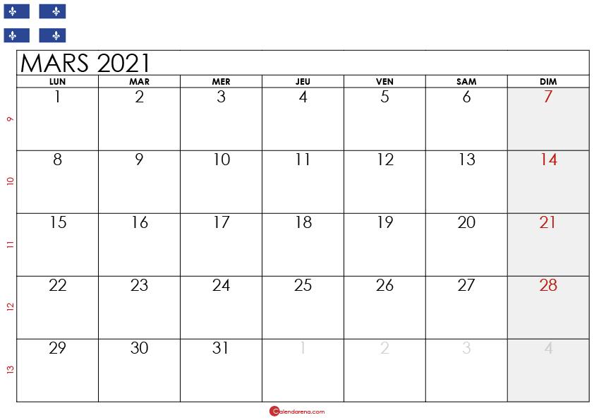 Calendrier mars 2021 Québec_2