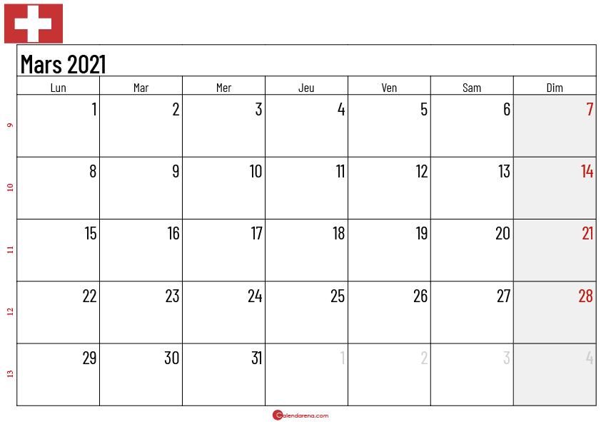 Calendrier mars 2021 suisse