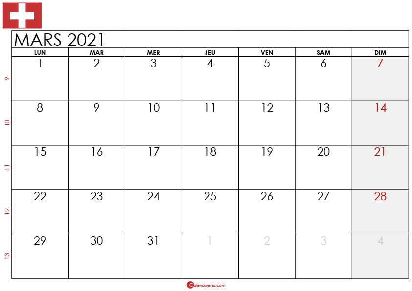 Calendrier mars 2021 suisse2