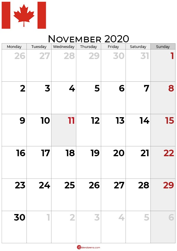 Canda november 2020 calendar landscape_bw