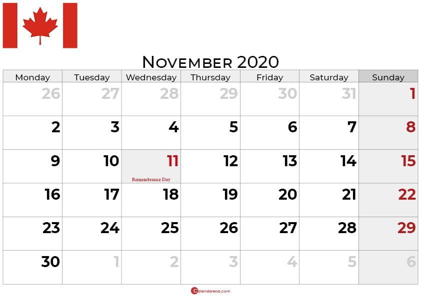 Canda november 2020 calendar portrait_bw