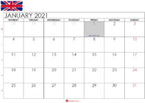 January 2021 calendar UK
