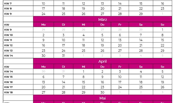 Kalenderwochen 2021 Januar bis Juni