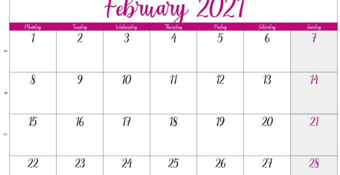 calendar february 2021 ca