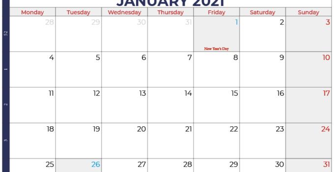 calendar january 2021 australia