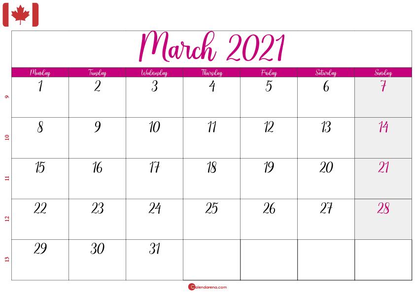 calendar march 2021 ca