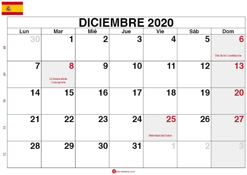 calendario diciembre 2020 España2