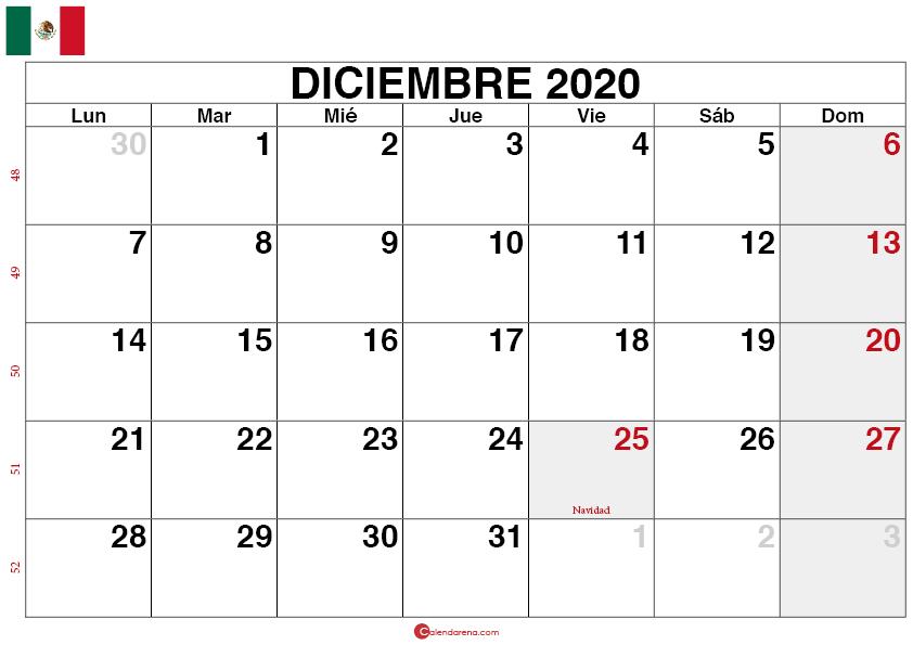 calendario diciembre 2020 mexico