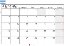calendario enero 2021 Argentina