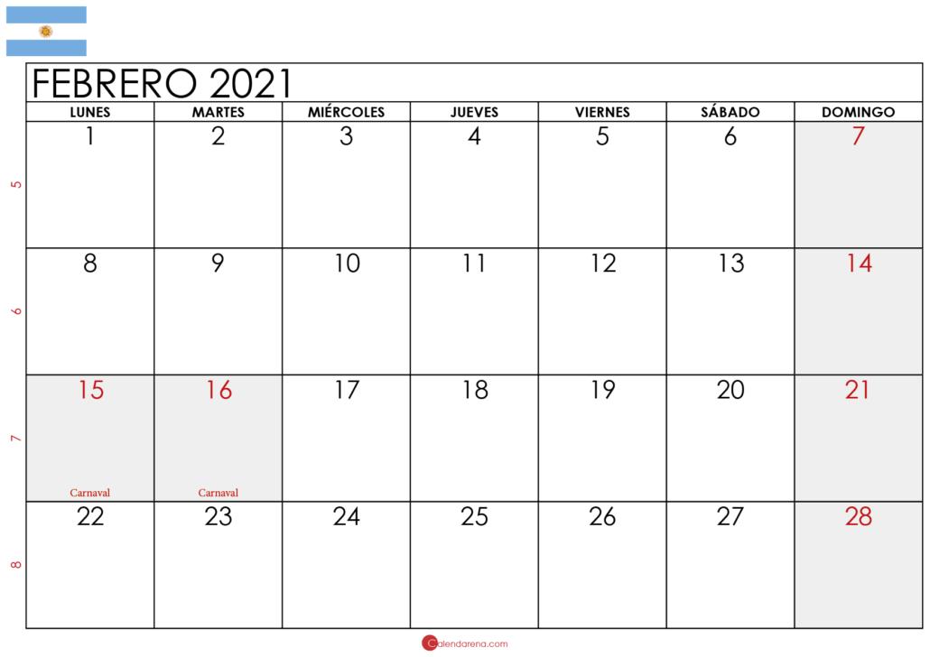 calendario febrero 2021 Argentina