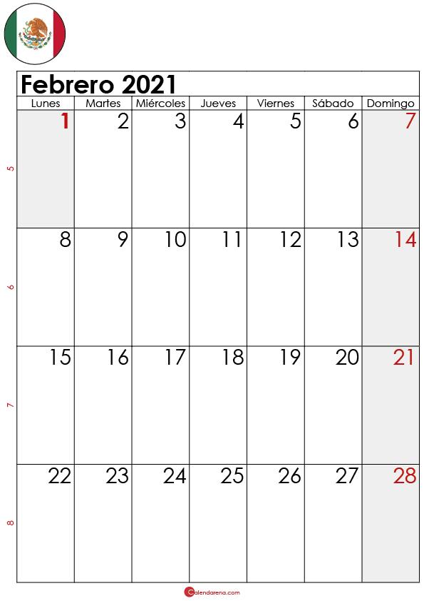 calendario febrero 2021 para imprimir MX