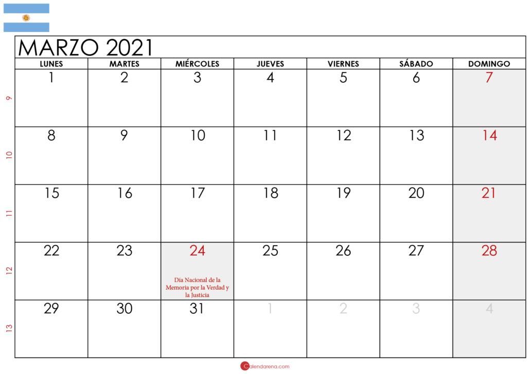 calendario marzo 2021 Argentina