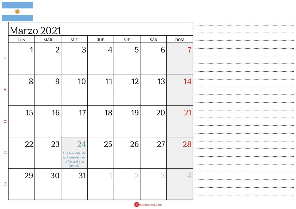 calendario marzo 2021 Argentina2