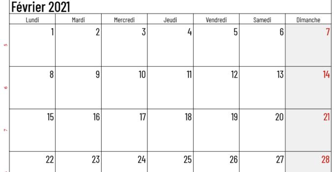 calendrier février 2021 belgique