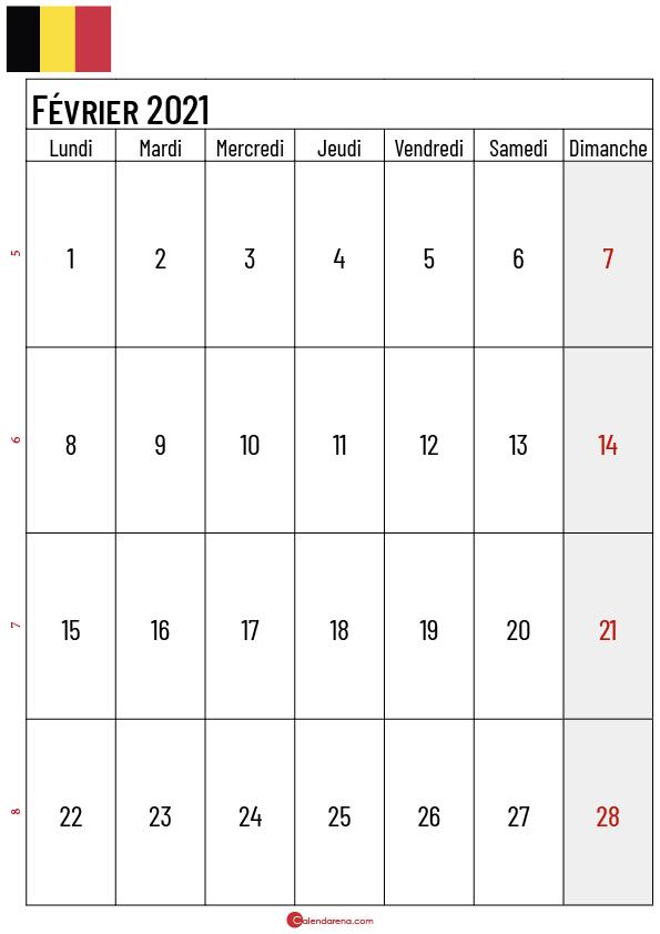calendrier février 2021 belgique_2