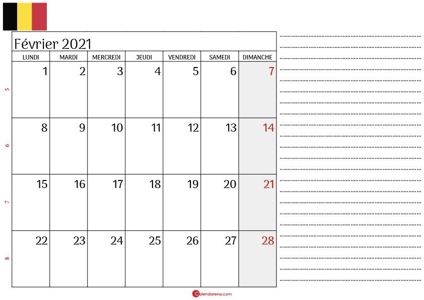 calendrier février 2021 belgique_notesL