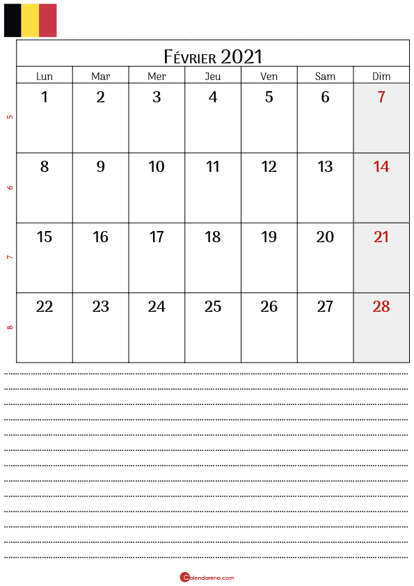 calendrier février 2021 belgique_notesP