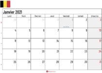 calendrier janvier 2021 belgique