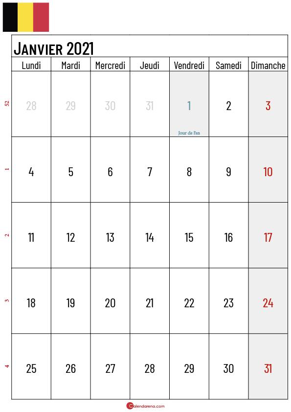 calendrier janvier 2021 belgique_2