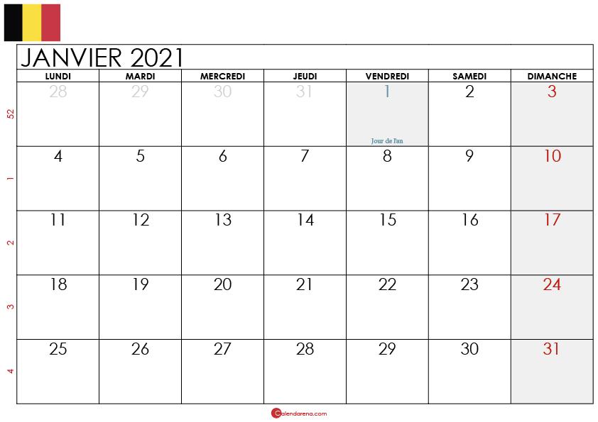 calendrier janvier 2021 belgique_3