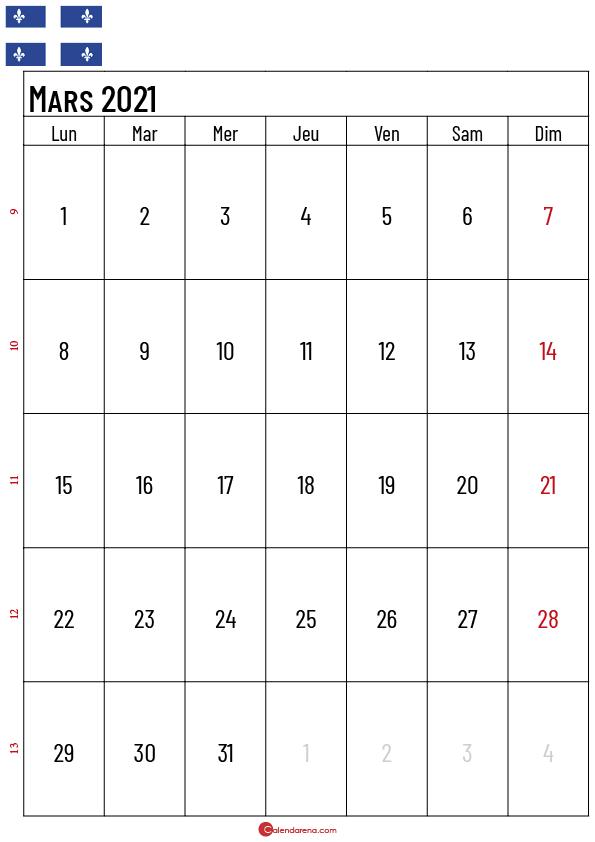 calendrier mars 2021 à imprimer