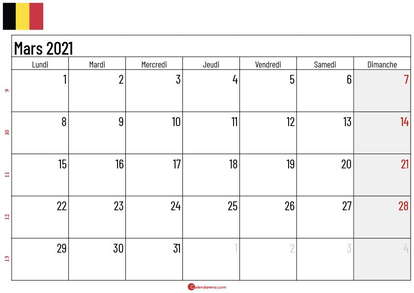 calendrier mars 2021 belgique