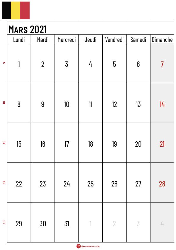 calendrier mars 2021 belgique_2