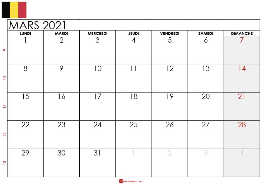 calendrier mars 2021 belgique_4