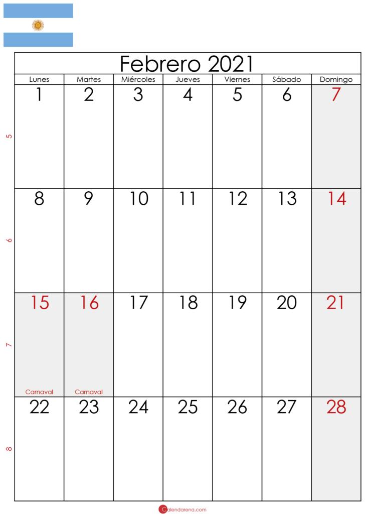 febrero 2021 calendario Argentina