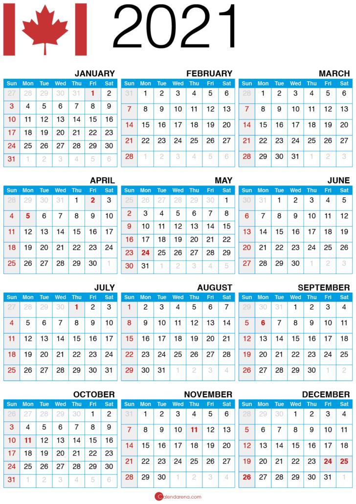 free printable 2021 calendar with holidays canada