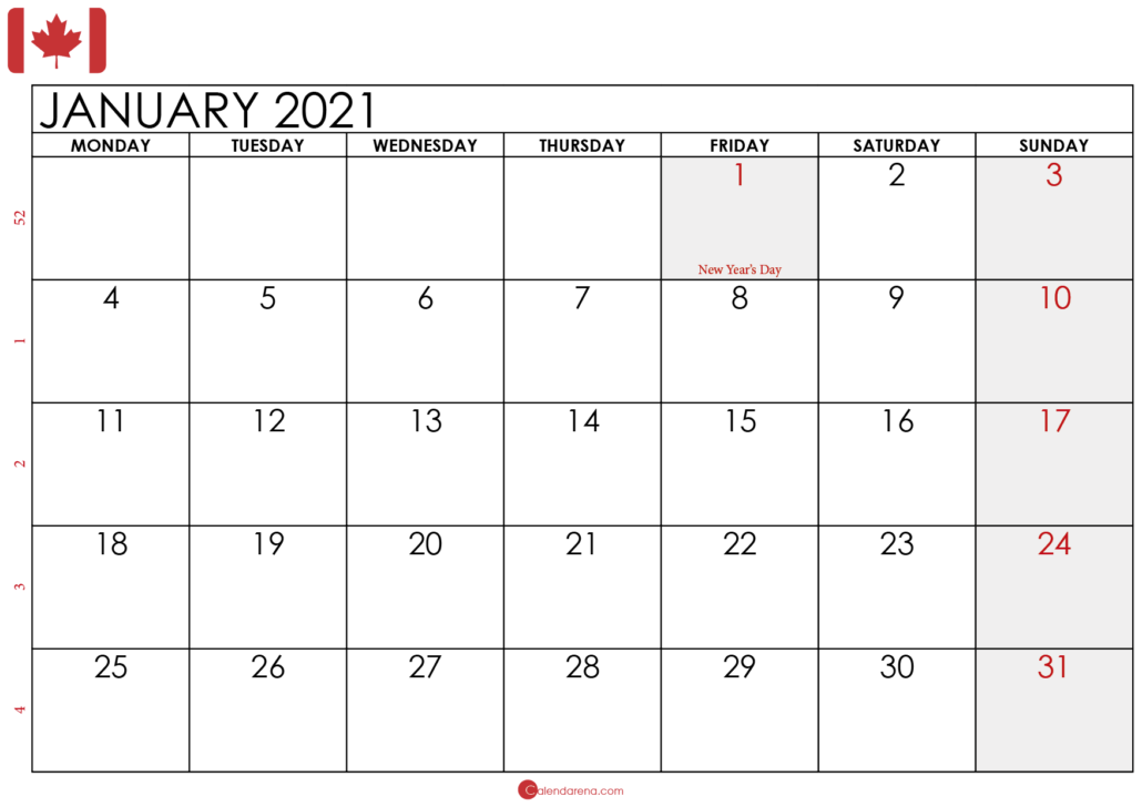 january 2021 calendar Canada 2
