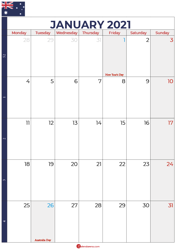 january 2021 calendar australia