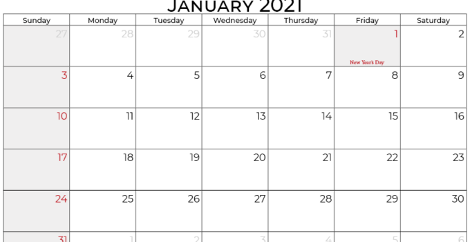 january 2021 calendar south africa_landscape