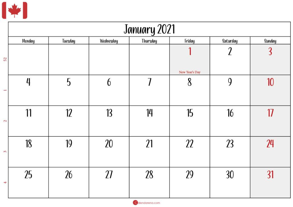 january calendar 2021 canada