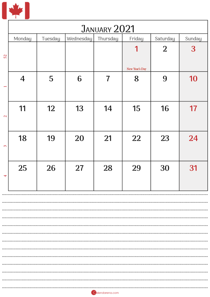 january calendar 2021 canada P2