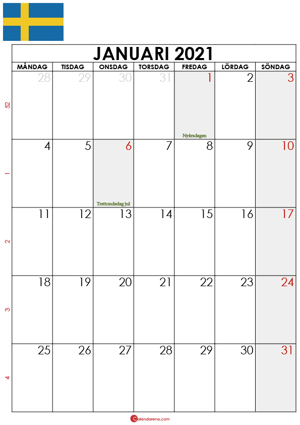 kalender 2021 januari sverige2