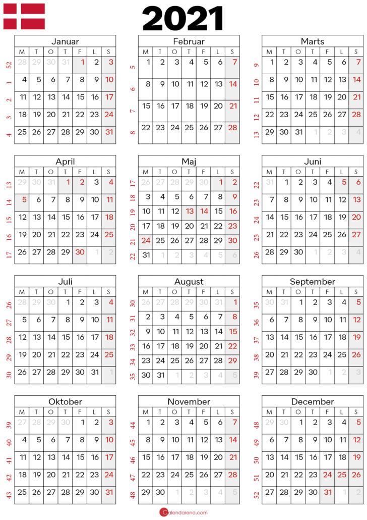 kalender 2021 med helligdage