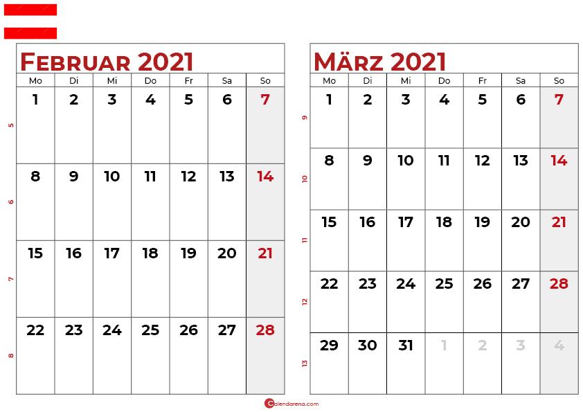 kalender februar märz 2021 Österreich