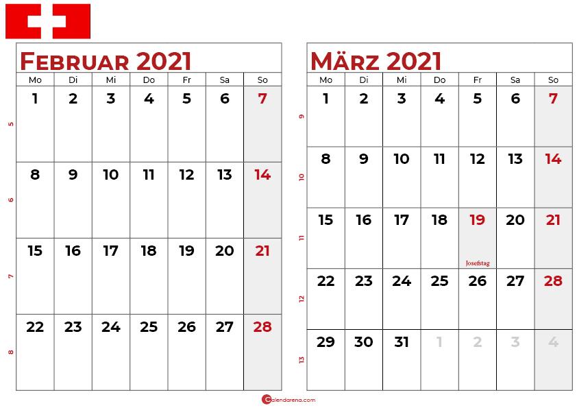 kalender februar märz 2021 Schweiz