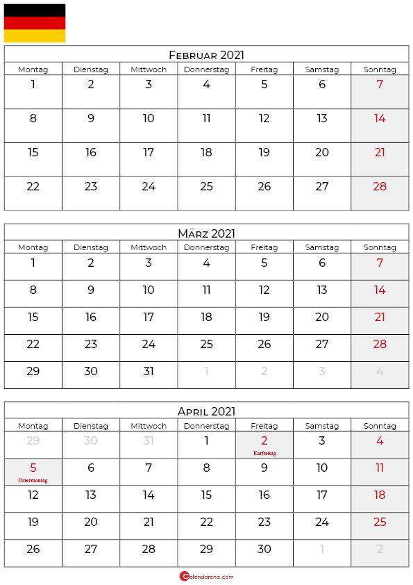 kalender februar märz april 2021