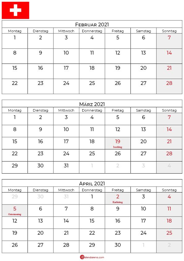 kalender februar märz april 2021 schweiz