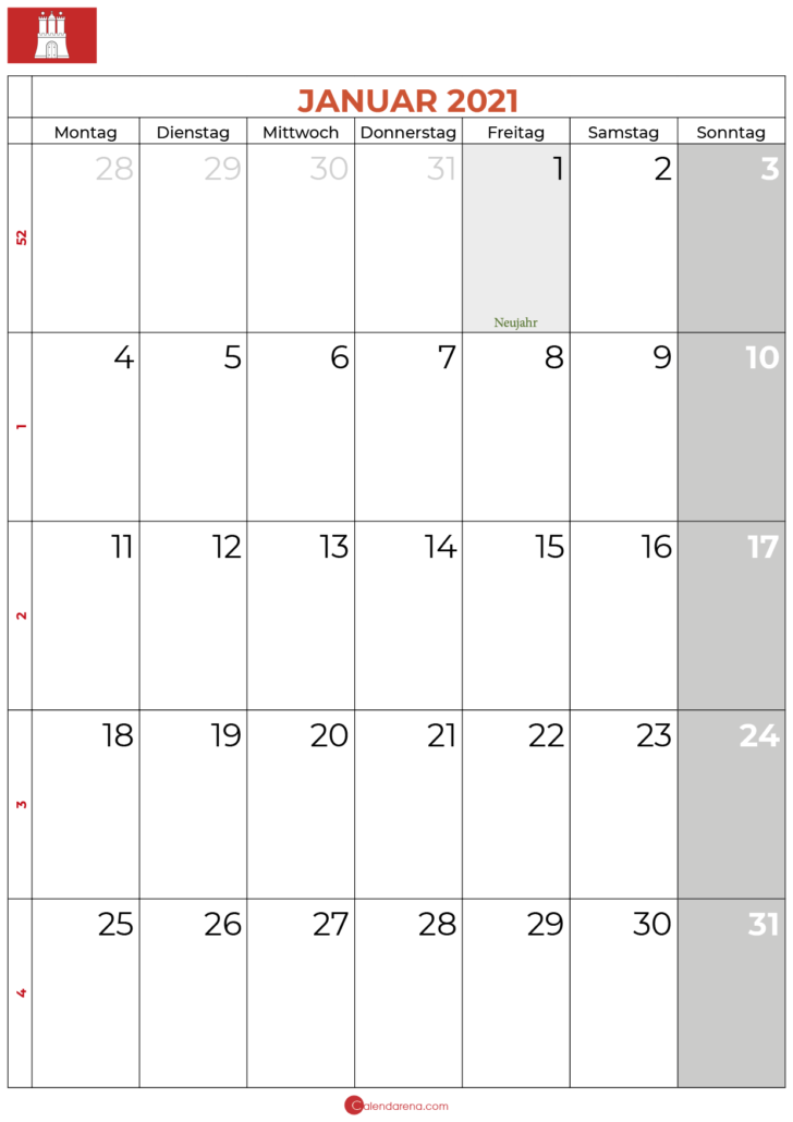 kalender januar 2021 hamburg